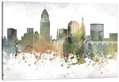 Cleveland Greenish Skyline Canvas Art Print
