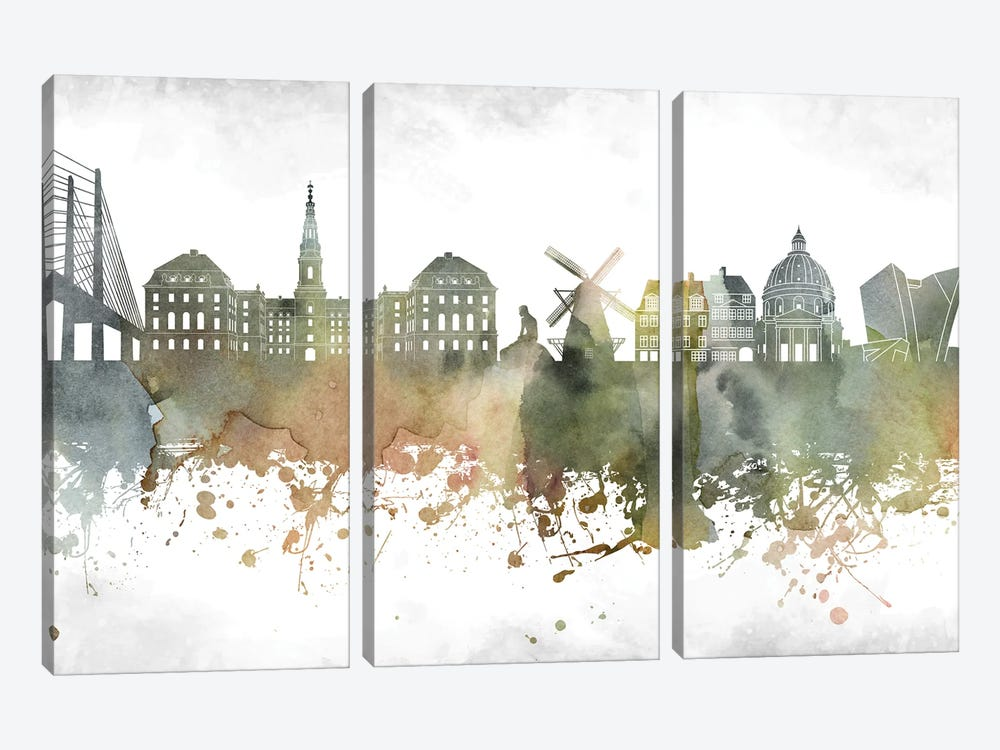 Copenhagen Skyline by WallDecorAddict 3-piece Canvas Art