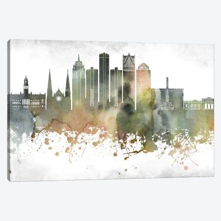 Detroit Skyline Canvas Print #WDA906} by WallDecorAddict Canvas Print
