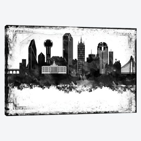 Dallas Black And White Framed Skylines Canvas Print #WDA91} by WallDecorAddict Canvas Art