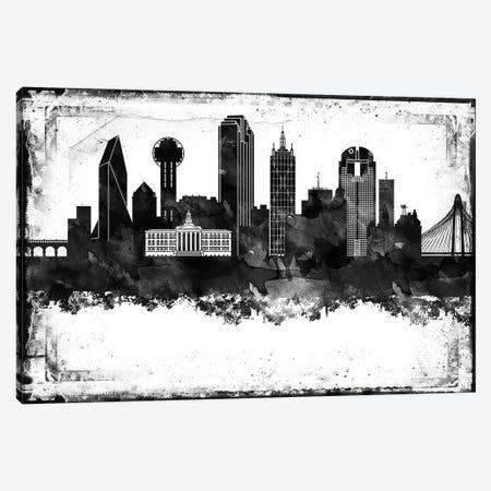 Dallas Black And White Framed Skylines Canvas Print #WDA91} by WallDecorAddict Canvas Art