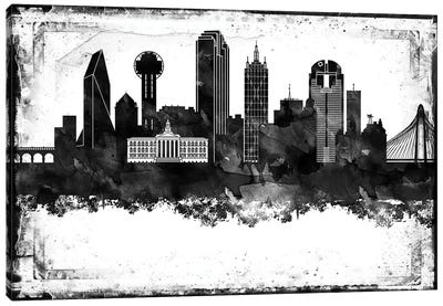 Dallas Black And White Framed Skylines Canvas Art Print
