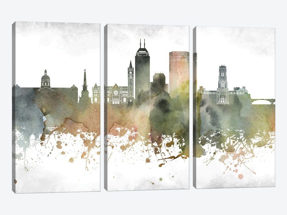 Indianapolis Skyline by WallDecorAddict 3-piece Canvas Wall Art