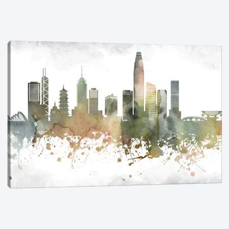 Hong Kong Greenish Skyline Canvas Print #WDA926} by WallDecorAddict Art Print