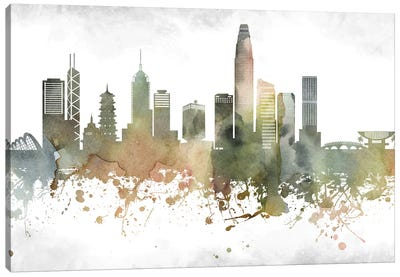 Hong Kong Greenish Skyline Canvas Art Print