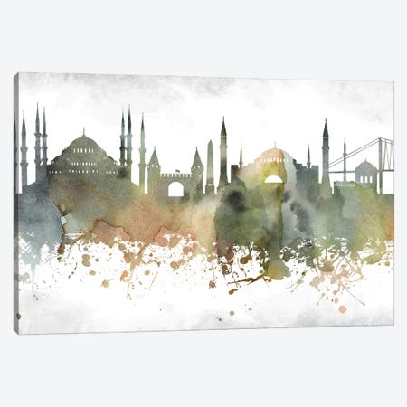 Istanbul  Greenish Skyline Canvas Print #WDA927} by WallDecorAddict Art Print