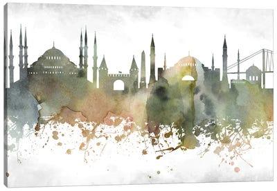 Istanbul  Greenish Skyline Canvas Art Print