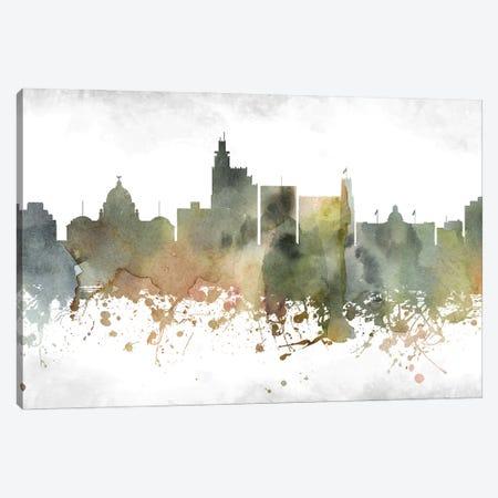 Jackson Mi Greenish Skyline Canvas Print #WDA928} by WallDecorAddict Canvas Art