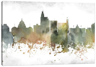 Jackson Mi Greenish Skyline Canvas Art Print