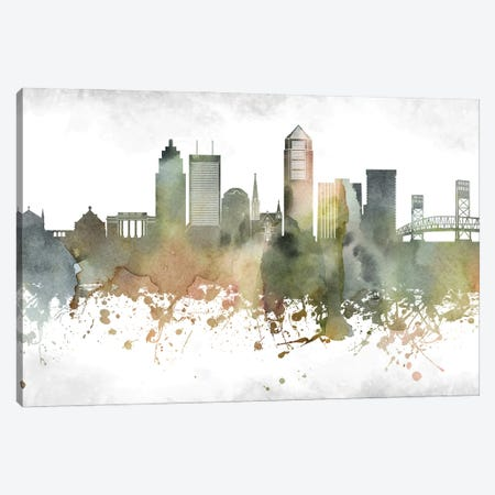 Jacksonville Skyline Canvas Print #WDA929} by WallDecorAddict Canvas Artwork