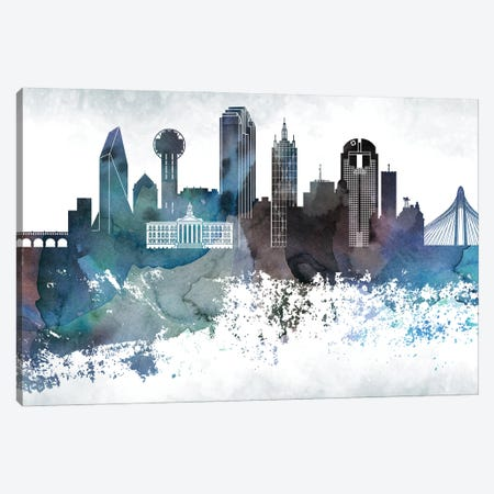 Dallas Bluish Skylines Canvas Print #WDA92} by WallDecorAddict Canvas Artwork