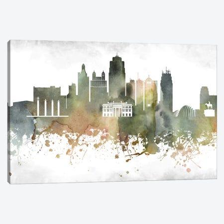 Kansas City Skyline Canvas Print #WDA931} by WallDecorAddict Canvas Art Print