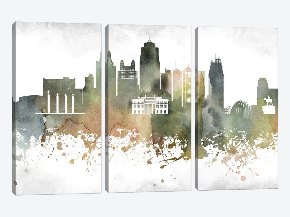Kansas City Skyline by WallDecorAddict 3-piece Art Print