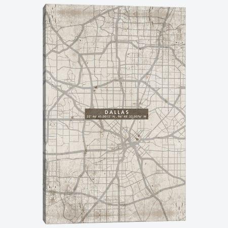 Dallas City Map Abstract Canvas Print #WDA93} by WallDecorAddict Canvas Artwork