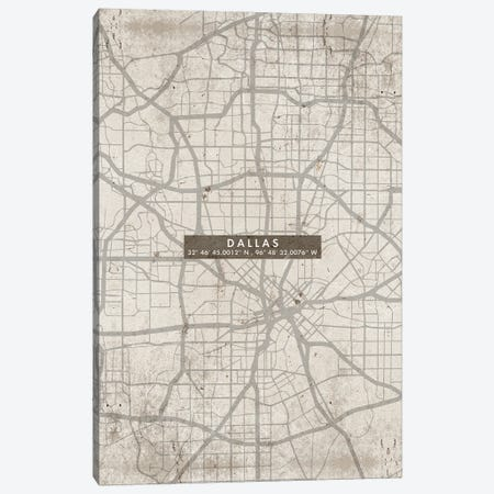 Dallas City Map Abstract Canvas Print #WDA93} by WallDecorAddict Canvas Artwork