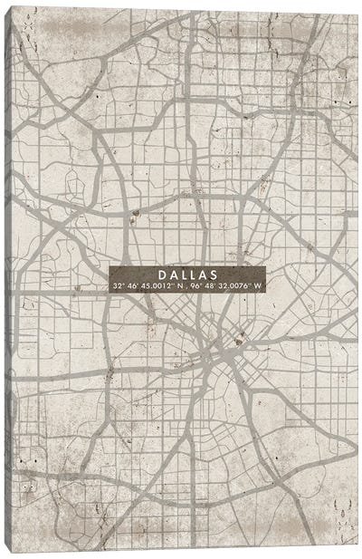 Dallas City Map Abstract Canvas Art Print