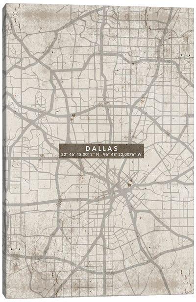 Dallas City Map Abstract Canvas Art Print