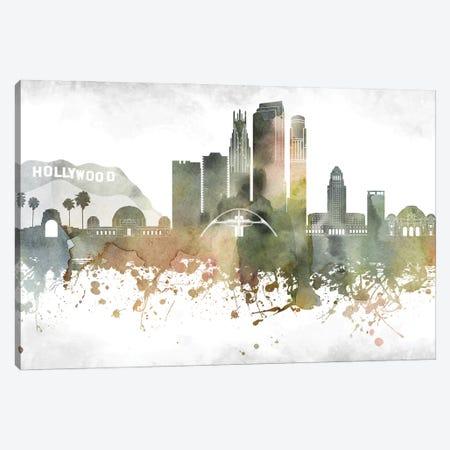 Los Angeles Skyline Canvas Print #WDA940} by WallDecorAddict Canvas Wall Art