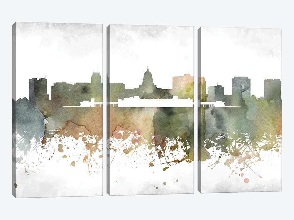 Madison Skyline by WallDecorAddict 3-piece Canvas Art