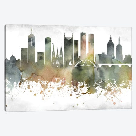 Melbourne Skyline Canvas Print #WDA947} by WallDecorAddict Canvas Art Print