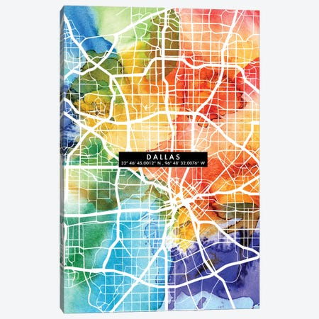 Dallas City Map Colorful Canvas Print #WDA94} by WallDecorAddict Art Print