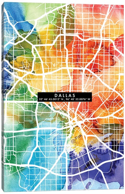 Dallas City Map Colorful Canvas Art Print