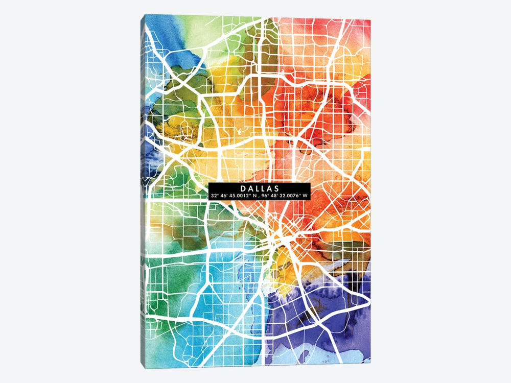 Dallas City Map Colorful by WallDecorAddict 1-piece Canvas Art