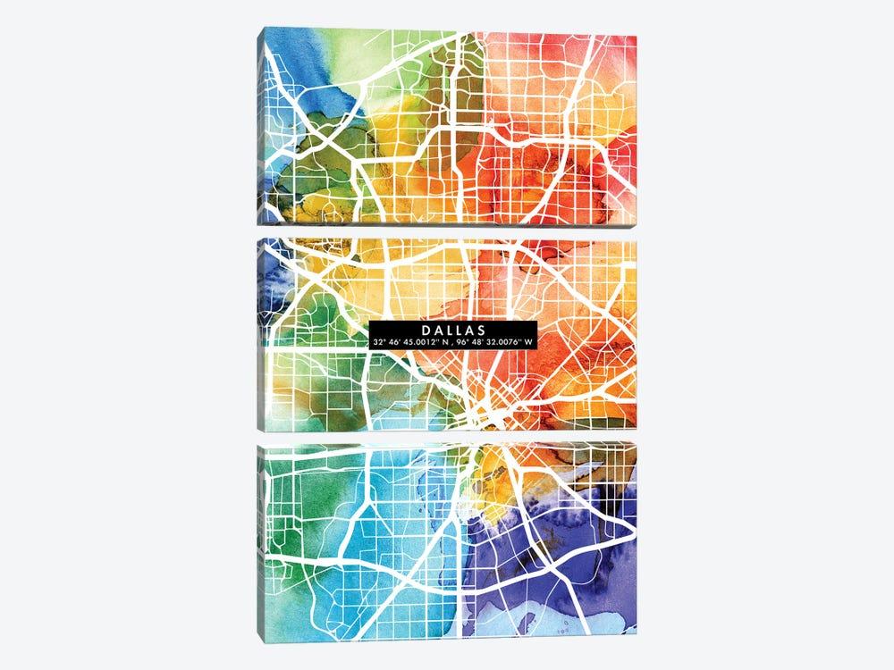 Dallas City Map Colorful by WallDecorAddict 3-piece Canvas Wall Art