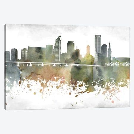 Miami Skyline Canvas Print #WDA950} by WallDecorAddict Art Print