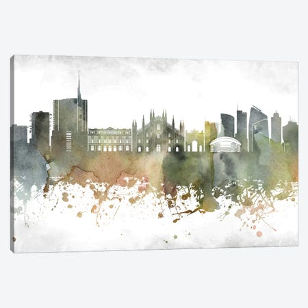 Milan Skyline Canvas Print #WDA951} by WallDecorAddict Canvas Print