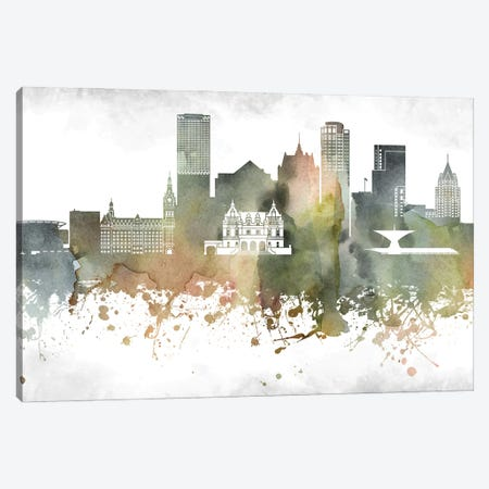 Milwaukee Skyline Canvas Print #WDA952} by WallDecorAddict Art Print