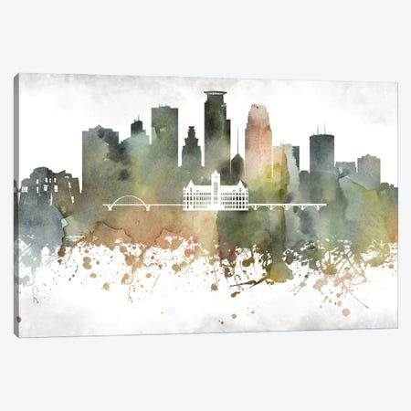 Minneapolis Skyline Canvas Print #WDA953} by WallDecorAddict Canvas Art Print