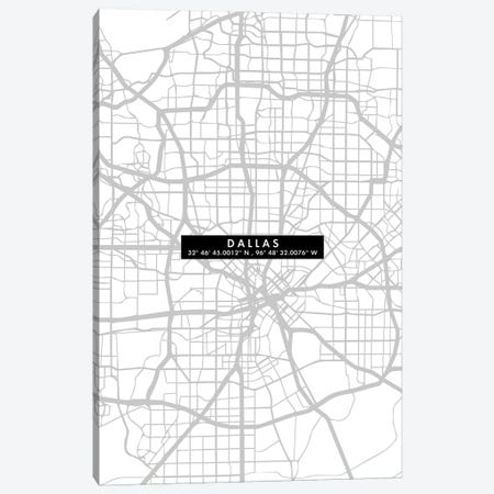 Dallas City Map Minimal Canvas Print #WDA95} by WallDecorAddict Art Print