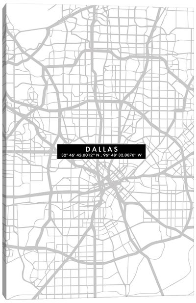 Dallas City Map Minimal Canvas Art Print