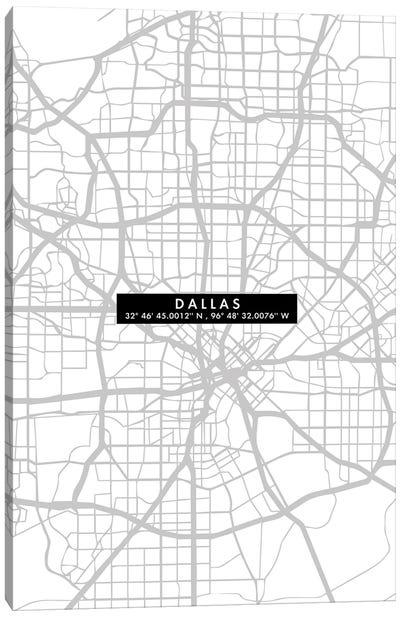 Dallas City Map Minimal Canvas Art Print