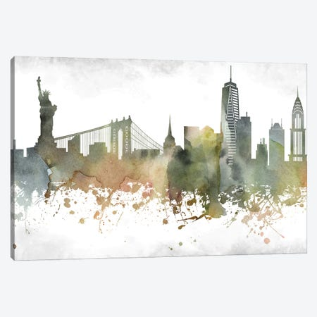 New York Skyline Canvas Print #WDA961} by WallDecorAddict Canvas Art