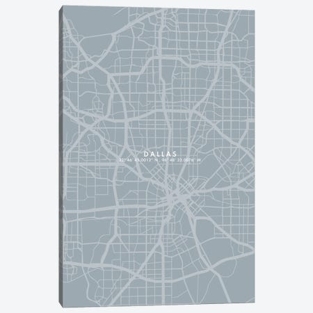 Dallas City Map Simple Color Canvas Print #WDA96} by WallDecorAddict Art Print