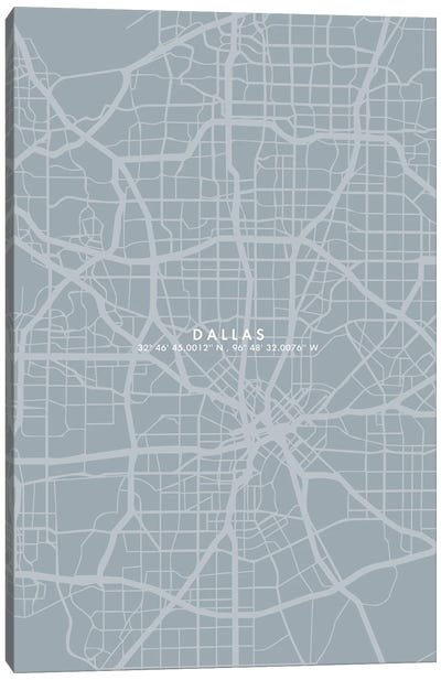 Dallas City Map Simple Color Canvas Art Print