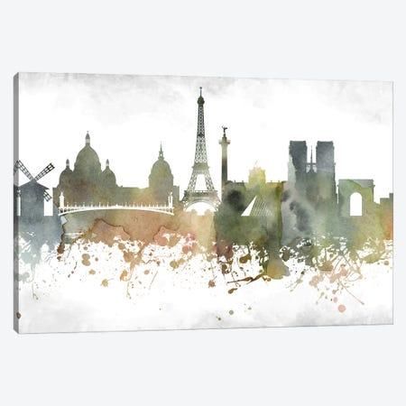 Paris Skyline Canvas Print #WDA972} by WallDecorAddict Art Print
