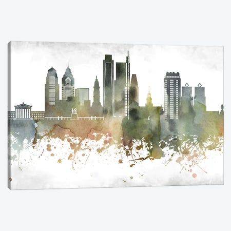 Philadelphia Skyline Canvas Print #WDA974} by WallDecorAddict Canvas Wall Art