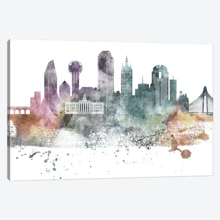 Dallas Pastel Skylines Canvas Print #WDA97} by WallDecorAddict Art Print