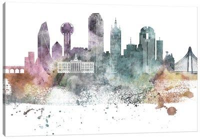 Dallas Pastel Skylines Canvas Art Print