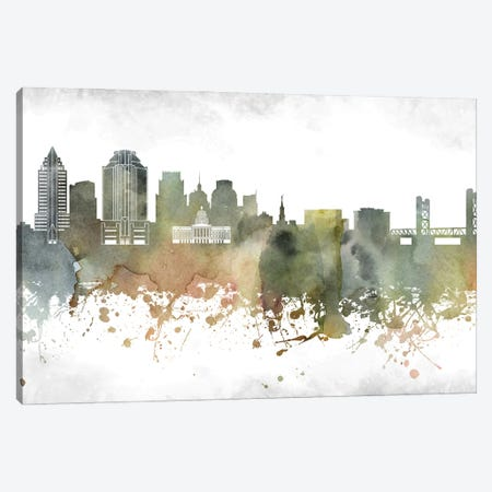 Sacramento Skyline Canvas Print #WDA987} by WallDecorAddict Art Print