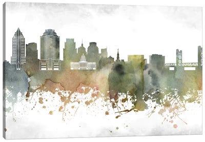 Sacramento Skyline Canvas Art Print