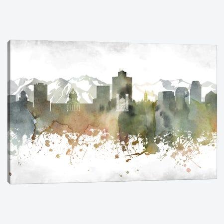 Salt Lake Skyline Canvas Print #WDA989} by WallDecorAddict Canvas Wall Art
