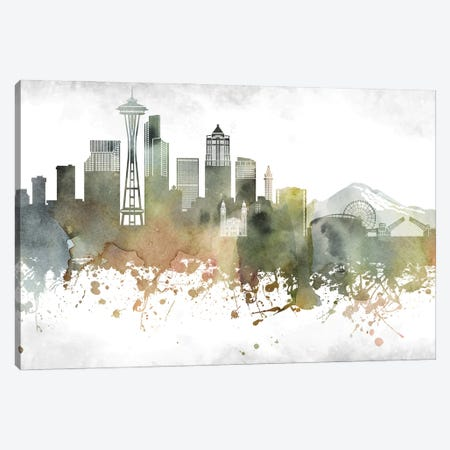 Seattle Skyline Canvas Print #WDA994} by WallDecorAddict Canvas Wall Art