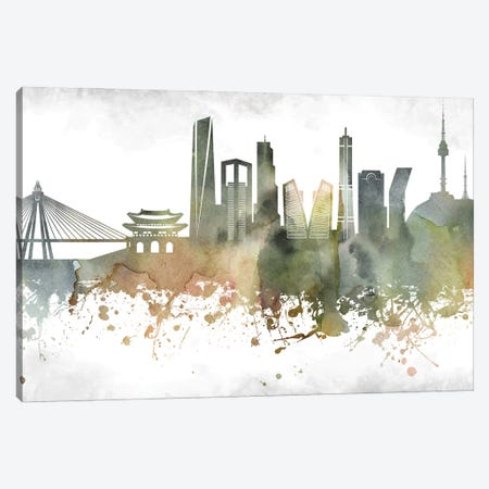 Seoul Skyline Canvas Print #WDA995} by WallDecorAddict Canvas Art