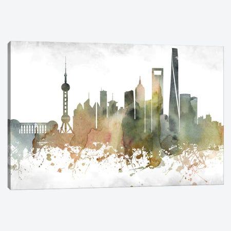 Shanghai Skyline Canvas Print #WDA996} by WallDecorAddict Canvas Art