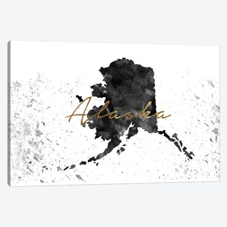 Alaska Black And White Gold Canvas Print #WDA9} by WallDecorAddict Canvas Art