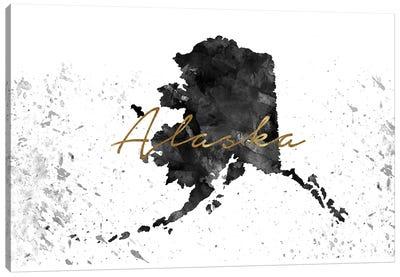 Alaska Black And White Gold Canvas Art Print